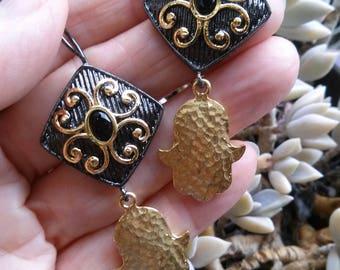 Earrings Stuning Oxidazed Sterling Silver Black Onyx Gold Filled Hamsa