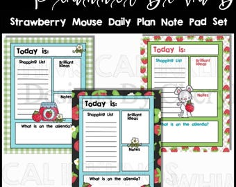 Strawberry Mouse Daily planner sheets for download, 8.5x11, personal use only, JPEG