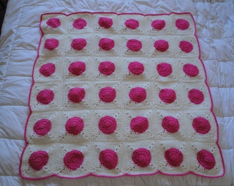 handmade Crocheted Baby Girl Afghan Pink Polka Dots in a white square