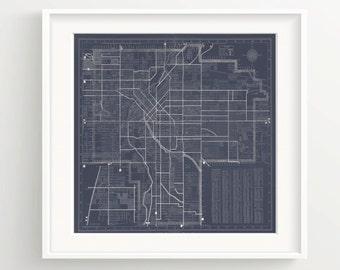 Denver Colorado Map Print - Vintage Blueprint - Wall Art - Dark Blue, Antique Maps, Urban
