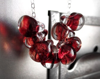 Red Glass Drop Necklace, Drops of Blood Red Glass Beads on Sterling Silver Chain, Contemporary Jewelry, Modern Jewelry - Red Sanguine