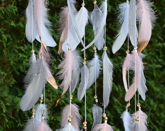 Boho Baby Mobile, Gray and Pink Gold Nursery Decor Baby Girl Mobile, Boho Dreamcatcher Feather Mobile,  Gray Pink Gold Boho Nursery Decor