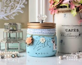 Pastel Blue Mason Jar, Shabby Chic Mason Jar, Trinket Mason Jar, Jewellery Holder, Potpourri Holder, Vanity Organizer, Bridesmaid Gift