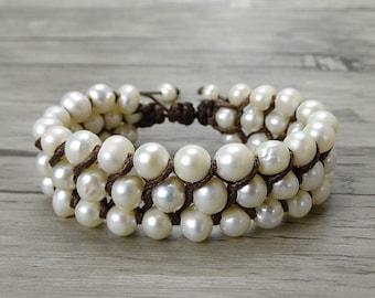 Boho pearl bracelet Pearl Beads Bracelet Leather Waps Bracelet Single Wasp bracelet pearl waps bracelet freshwater pearl bracelet SL-0233