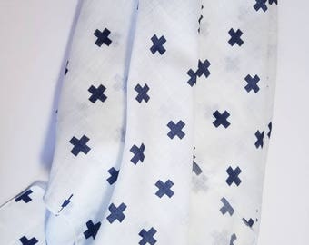Muslin Swaddle Blanket. Double gauze blanket. Swiss Cross muslin blanket. X-large blanket