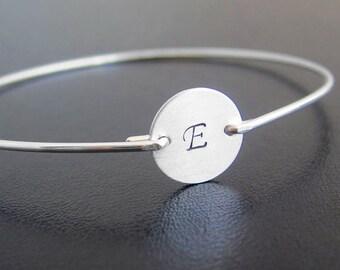 Sterling Silver Initial Bracelet Sterling Silver Bracelet for Women Monogram Personalized Sterling Bracelet Sterling Silver Bangle Bracelet
