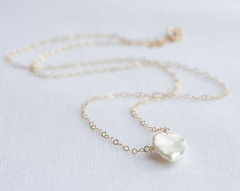 Keshi pearl necklace, June birthstone necklace, Small Keshi pearl on gold or silver chain, pearl jewelry, gift for her, Keishi pearl pendant