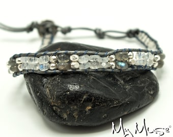 Moonstone Bracelet, Boho Bracelet, Beaded Bracelet, Leather wrap Bracelet, Single wrap bracelet, Gemstone Bracelet, Bracelet for her