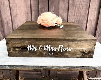 "15""x 15"" Rustic Cake Stand - Custom Wedding Cake Stand - Rustic Wedding Decor - Wooden Box"