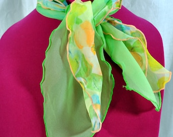 Vintage 1970s  Pair of Nylon Scarves with Scallop Edges - One is Flowered and One is Green - Neck or Ponytail Scarf
