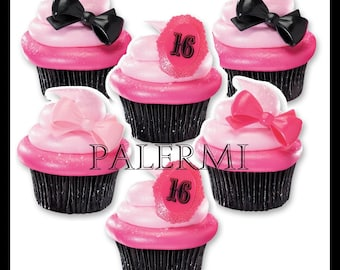 Sweet 16 Cupcake Toppers, Sweet 16 Cupcake Picks, Sweet 16 Party Decor, Sweet 16 Party Favors, Sweet 16 Cake Topper