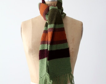 vintage stripe scarf, green striped scarf