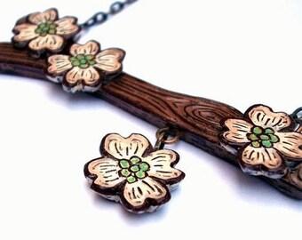 Tree Branch Necklace. Dogwood Necklace. Dogwood Flower Necklace. Garden Wedding. Rustic Wedding. Spring Jewelry