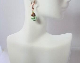 Earrings Mint Green Glass Pearl & Copper
