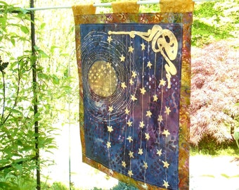 Stained Glass Panel - Batik - Cafe Curtains - Kids Room Decor - Nursery Decor -  Curtain Panels -Cafe Curtains - Moon - Stars