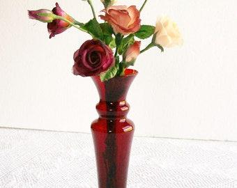 Vintage Ruby Red Glass Bud Vase and Silk Rose Stems Elegant Holidays Wedding Vanity Tables