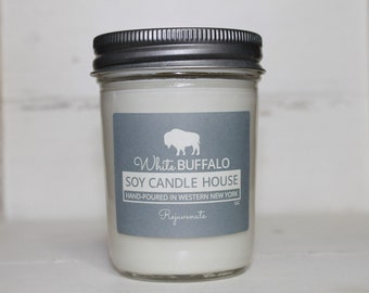 Rejuvenate Soy Candle   Scented Candles   Aromatherapy Candles   White Buffalo   Buffalo Decor   Farmhouse Candles   Buffalo NY Gifts