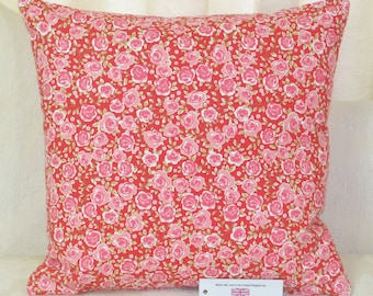 """CUSHION COVER 17""""x17"""" 43cm sq. Ashley Wilde Poppy Floral 100% Cotton Pink Red"""