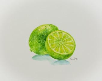 Lime watercolor, citrus fruit, kitchen art, fruit painting, original watercolor painting