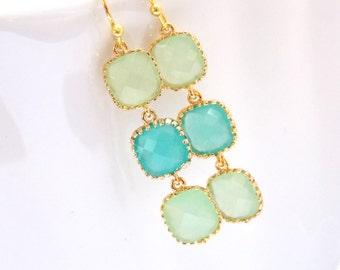 Green Earrings, MInt Earrings, Blue Earrings, Aqua, Ocean Blue, Apple Green, Turquoise, Glass Gold, Bridesmaid Earrings, Bridesmaid Gifts