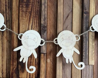 pack of 10 unpainted laser cut  Cheeky Monkeys perfect for crafting baby garland bunting