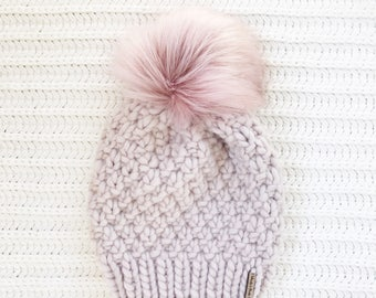 PREORDER; Faux Fur Pom Pom, 100% Wool Hand Knit Chunky Hat, Chunky Knit Beanie, Knit Pom Pom Hat / / THE LINDEN, Made to Order