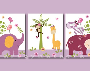 Baby Nursery Decor Art for Children Kids Wall Art Baby Girl Nursery Room Decor Nursery Print set of 3 Elephant Giraffe Violet Purple /