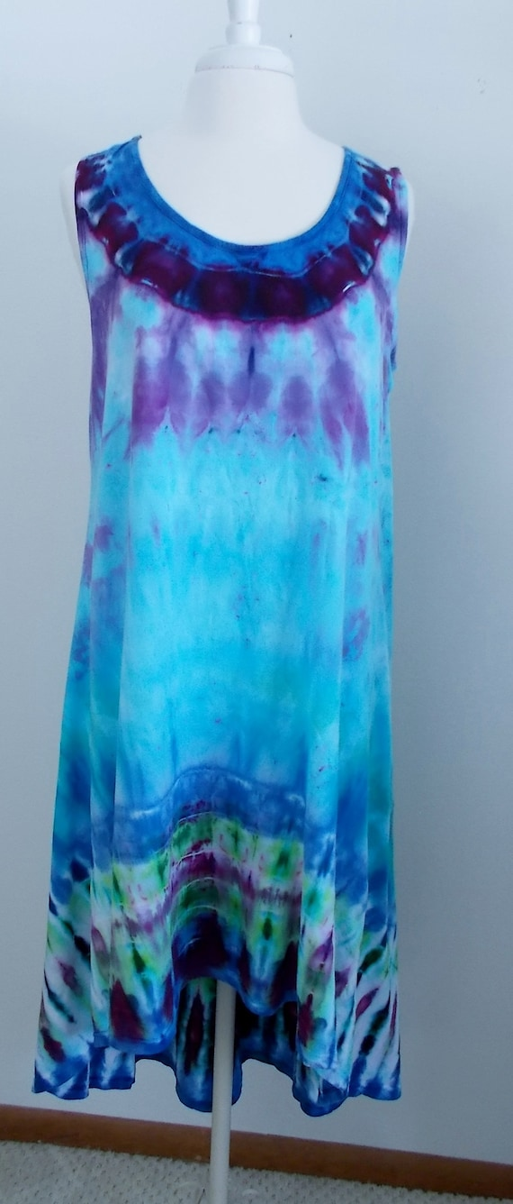 Hi-Lo Cotton Jersey Tank Dress Ice Dyed Tie Dyed Large