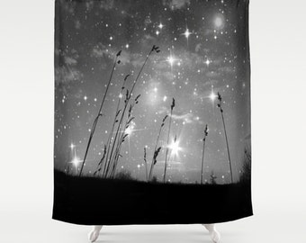 Only the stars and me . Shower Curtain, modern, home,  bathroom, nature, fine art, photography, inspirational, night sky, dreamy, noir, goth