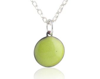 Green Enamel Dot Necklace