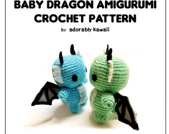 Baby Dragon Amigurumi Pattern, Crochet Dragon Pattern, Cute Dragon Toy Pattern, Amigurumi Crochet Pattern, Baby Dragon Plush, Cute Pattern