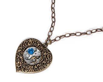 Steampunk Jewelry Necklace Brass Vintage Watch HEART AQUA Crystal Wedding Anniversary Girlfriend Bride Fiancee Gift - Jewelry by edmdesigns