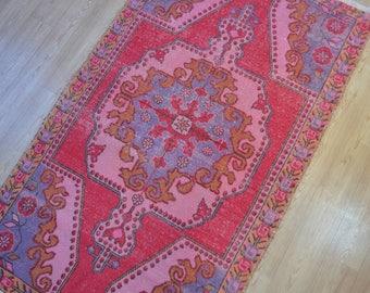 Vintage rug. Turkish rug. Oushak rug. Vintage rugs. Turkish carpet. Free shipping. 7.2 x 4.2 feet.