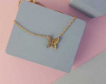 Minimal simple brass butterfly bracelet