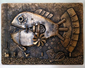 Key holder steampunk fish,key holder under bronze,steampunk fish, picture steampunk  fish