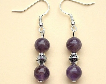 Amethyst  Earrings Gemstone Drop Earrings with Sterling Silver Hooks New Pair LB7