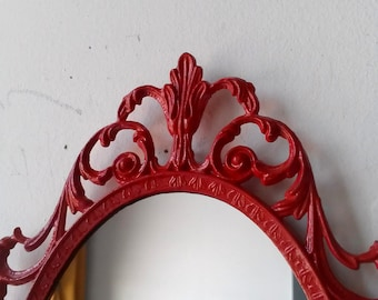 Princess Wall Mirror - Ornate Oval Frame in Ruby Red - 10 by 7 inches