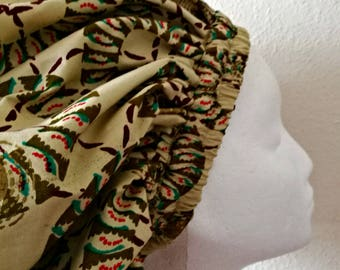 Gold, Cream, Red and Green African Design Lined Lounge and Sleep Cap (Limited)