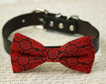 Red Dog Bow Tie Collar, Floral Prints, Birthday gift, Pet Wedding accessory, Valentines day