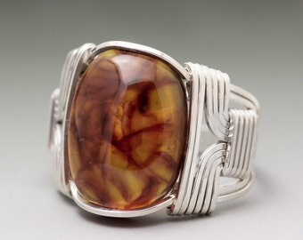 Amber (Pressed) Gemstone Cabochon Sterling Silver Wire Wrapped Ring - Made to Order, Ships Fast!