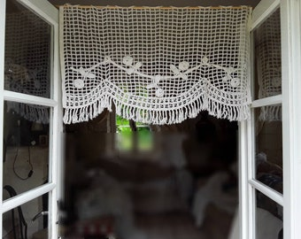 Lace Curtains,  French Vintage Linens, Antique  Crochet, French shabby, Old french roses , Hand Made , Shabby, Rustic Crochet French, Nordic