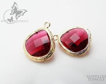 F100-G-RU // Gold Framed Ruby Glass Stone Pendant, 2 pcs