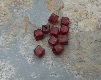 Red Cube Beads, Small Glass Cube Beads, 6mm, 10 beads per package
