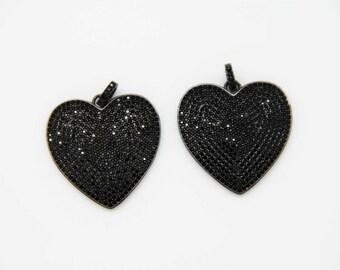Black CZ Micro Pave 30mm Heart Pendant