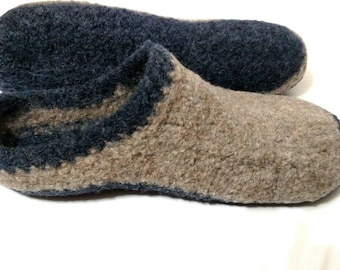 Boiled Wool Shoes, Felted Slippers, House Shoes, US women's size 8