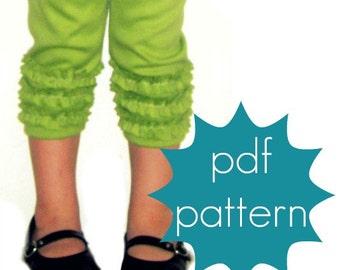 Ruffle Leggings PDF Sewing Pattern - full, capri and short length options - nb-5t or 6-14 and doll/preemie