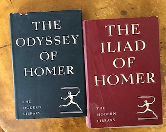 Iliad and Odyssey of Homer - Vintage Modern Library Books - Classic Literature Gift - Ancient Greek Literature - Literary Gift - Epic Poetry