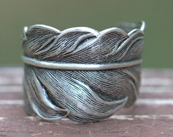 Mens Feather RING Unisex.  Cool Thumb ring Sterling silver brass feather ring. Size 4 5 6 7 7.5 8 9 10 11 12 13 14 sparrow peacock swallow