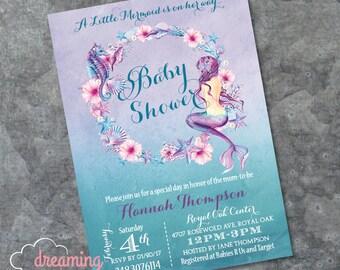 Mermaid Baby Shower Invitation - Mermaid Birthday Invitation