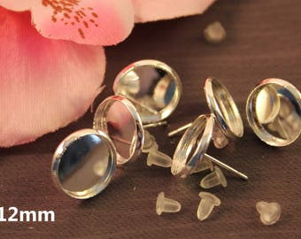 20 pairs silver 12mm cabochon chip earrings